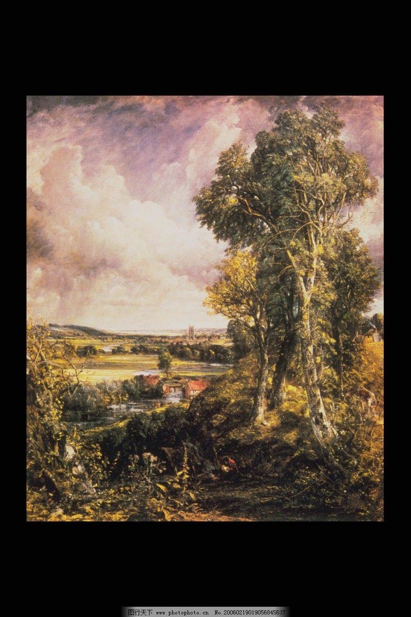 风景油画0082,艺术-图行天下图库