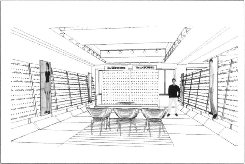 商场室内手绘线稿