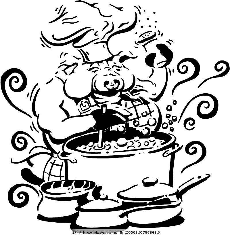 手绘厨师老奶奶图片